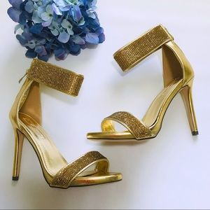 Golden ankle strap heels